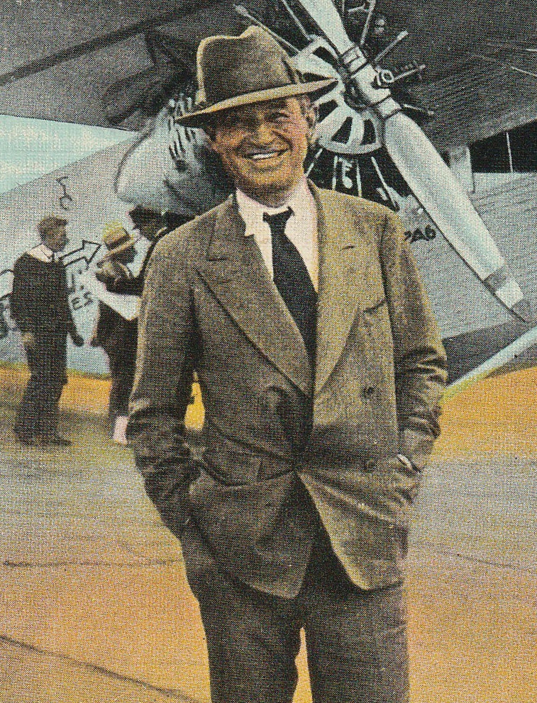 Will Rogers and Plane Vintage Postcard Close Up 2