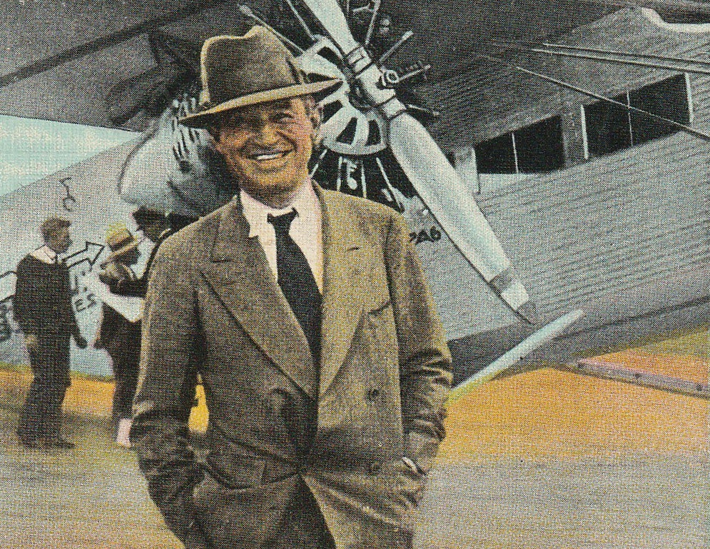 Will Rogers and Plane Vintage Postcard Close Up 3