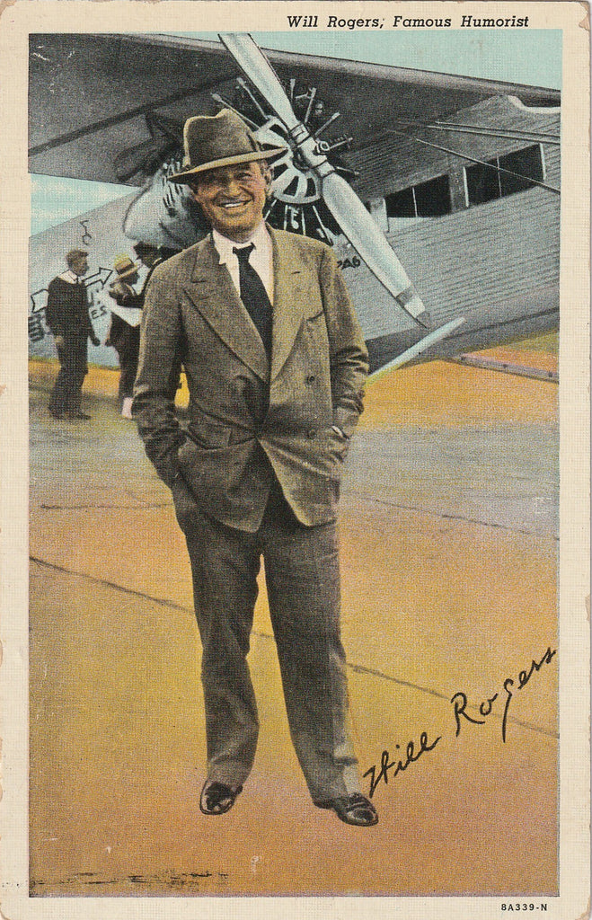 Will Rogers and Plane Vintage Postcard