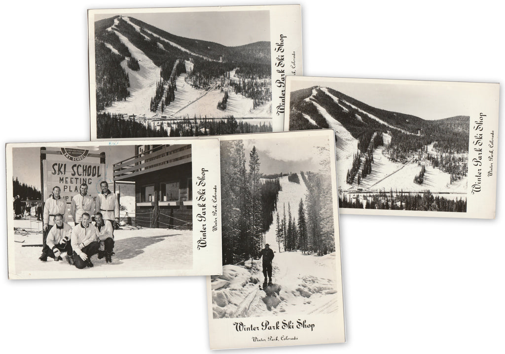 Winter Park Ski Shop - Winter Park, Colorado - SET of 4- RPPCs, c. 1950s