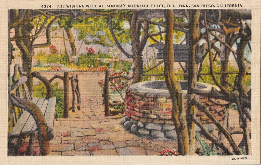 Wishing Well Ramona's Marriage Place San Diego CA Vintage Postcard