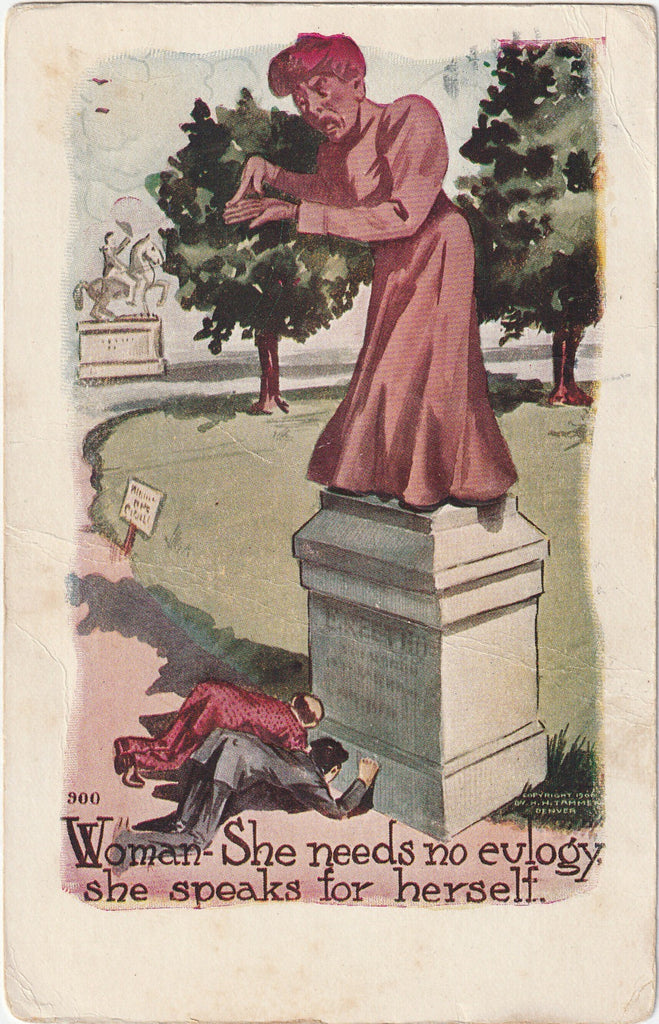 Woman She Needs No Euloguy  H H Tammen Postcard