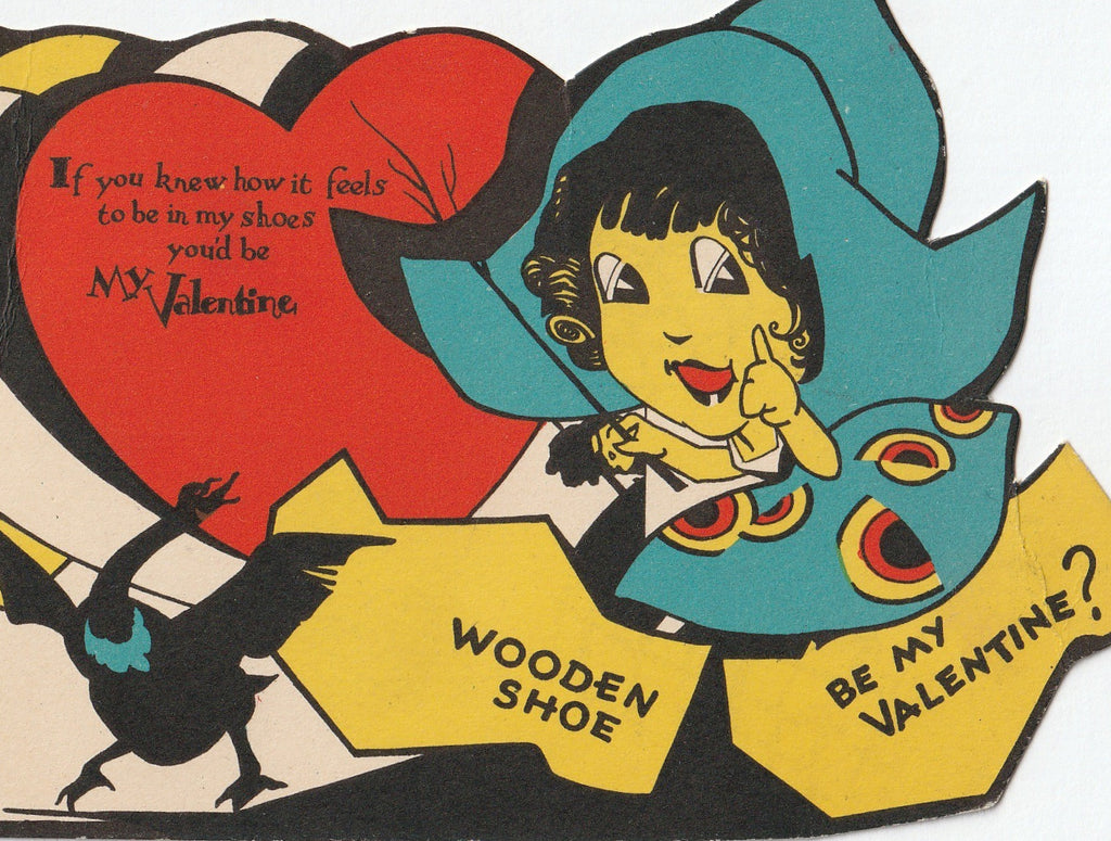 Wooden Shoe Be My Valentine Vintage Card Close Up