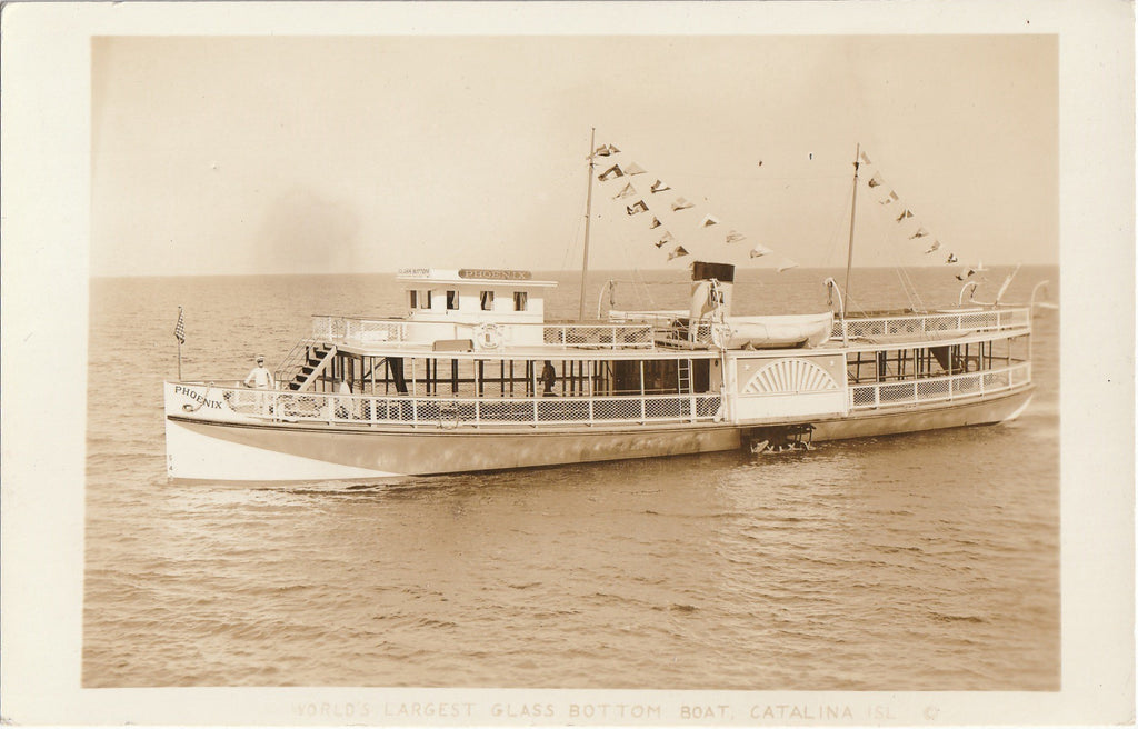 Phoenix, The World's Largest Glass Bottom Boat - Catalina Island, CA - RPPC, c. 1939