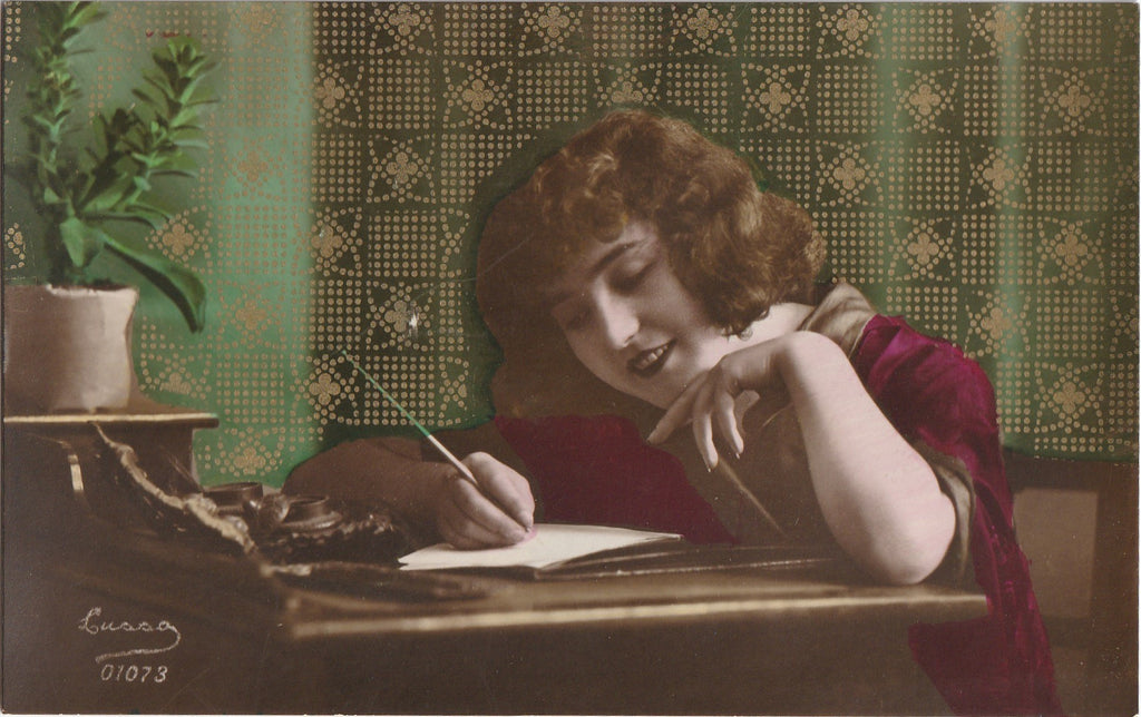 Writing Love Letters - RPPC, c. 1910s