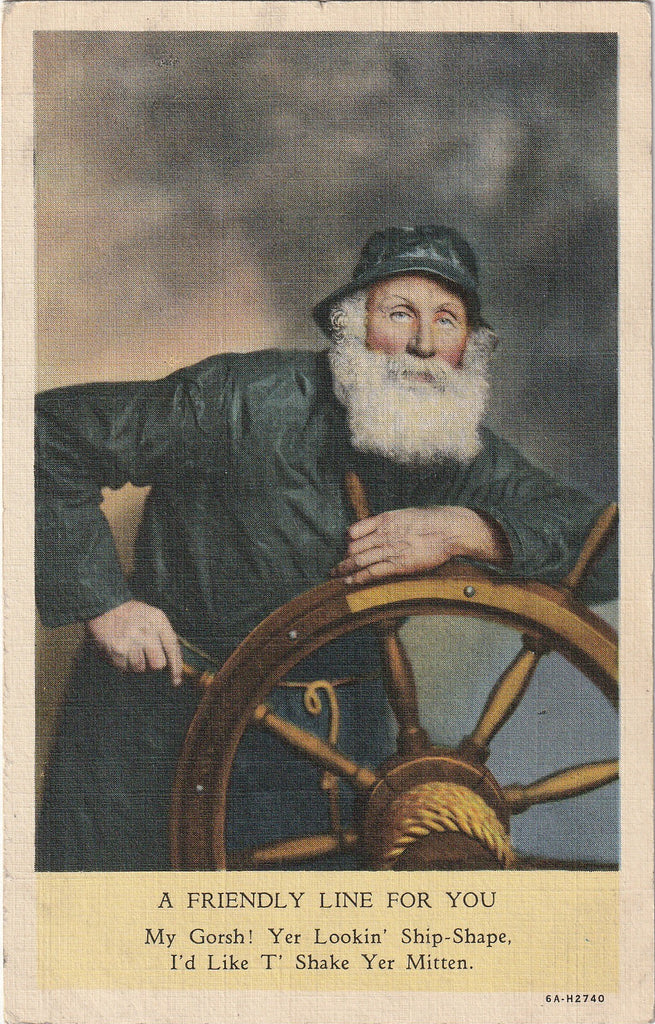 Yer Looking Ship-Shape Sea Captain Vintage Postcard