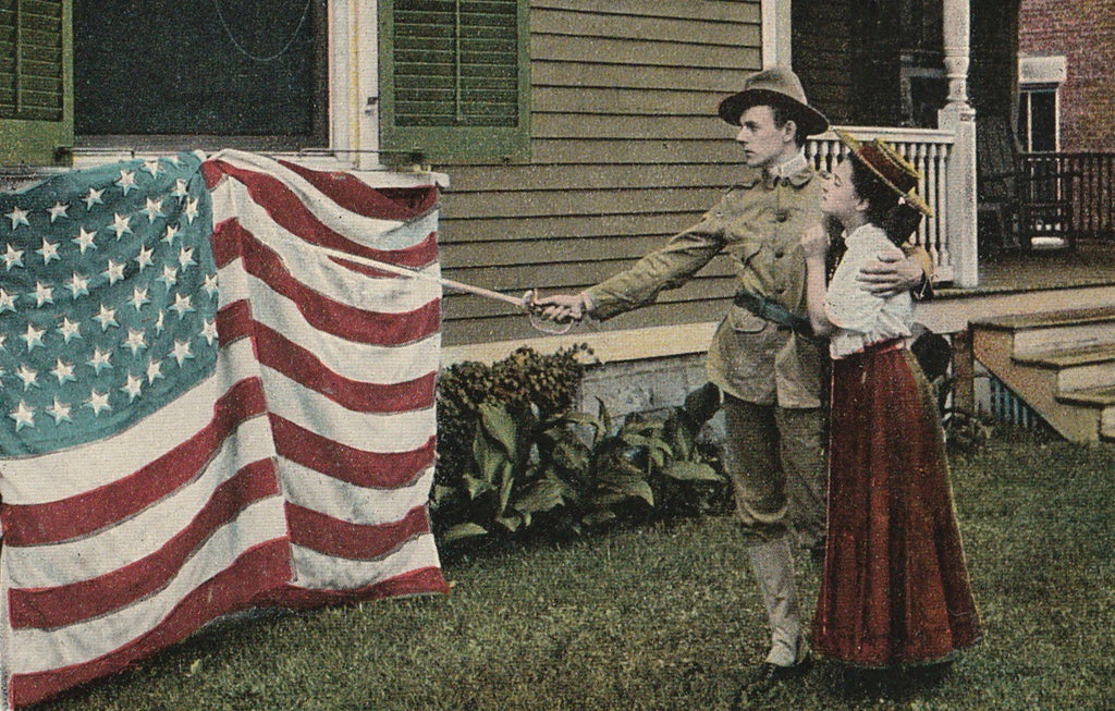 You Are Near to My Heart, Old Stars and Stripes - Postcard, c. 1900s Close Up