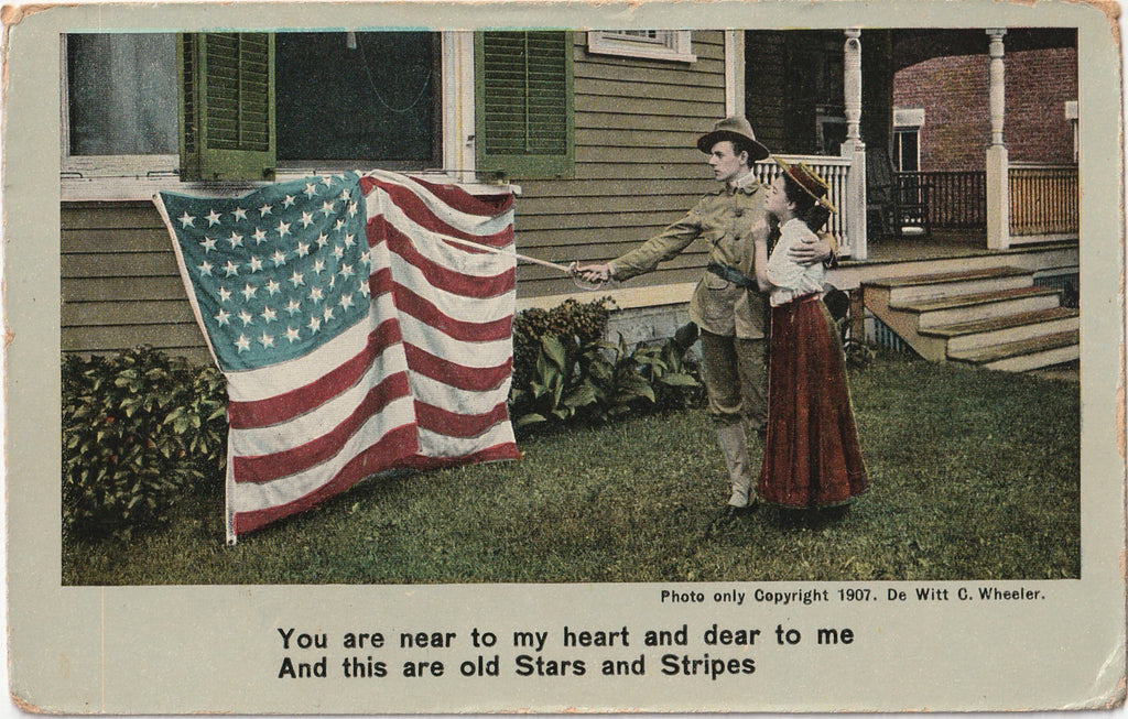 You Are Near to My Heart, Old Stars and Stripes - Postcard, c. 1900s