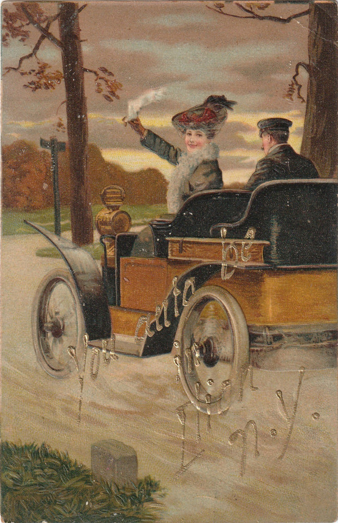 You Auto Be in Elion NY Antique Postcard