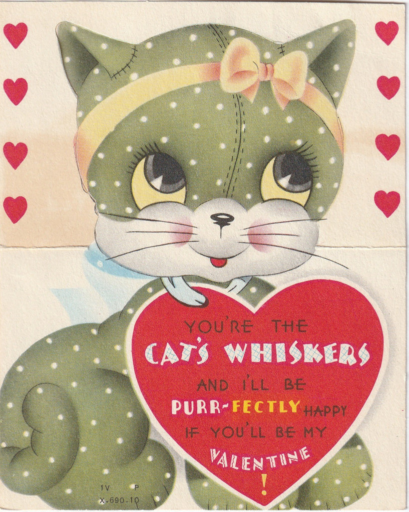 You're The Cat's Whiskers Vintage Valentine Card