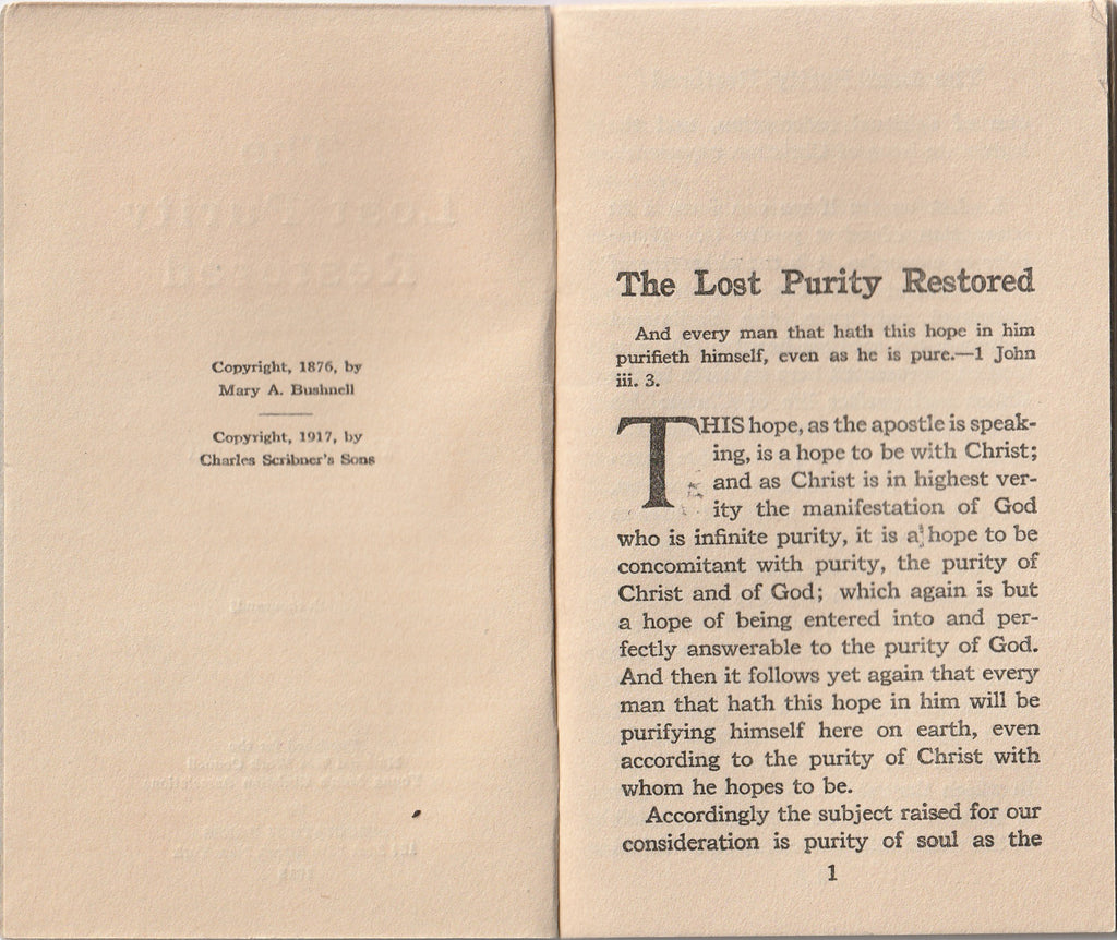 The Lost Purity Restored Horace Bushnell Page 1