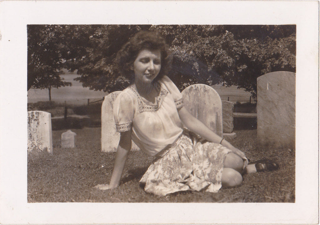 Woman Posing in Cemetery