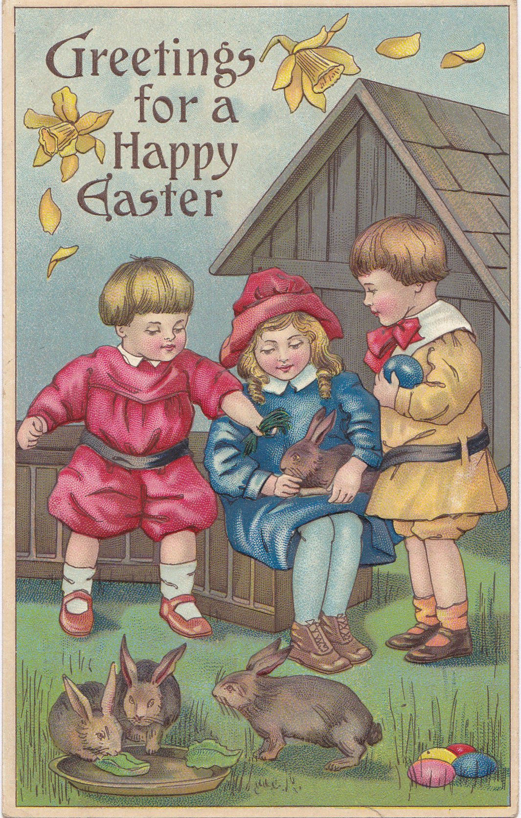 Baby Easter Bunny 1910s Antique Postcards Set Of 2 Edwardian