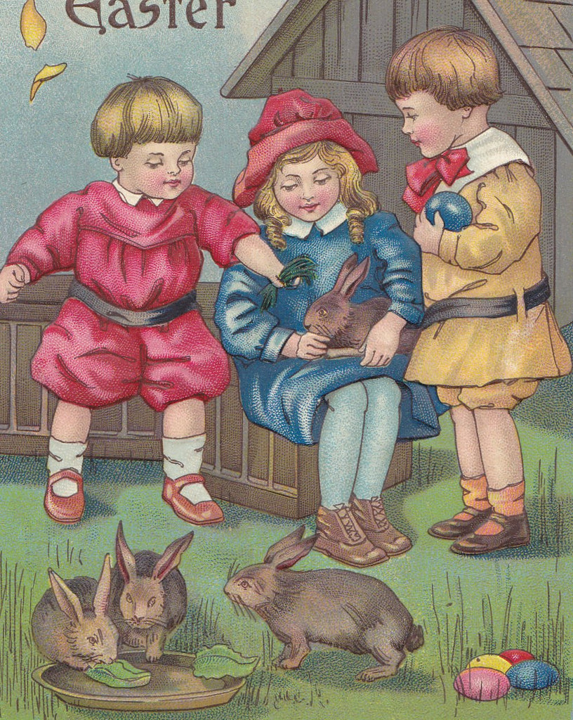 Baby Easter Bunny- 1910s Antique Postcards- SET of 2- Edwardian Children- Easter Eggs- German-Made- Used
