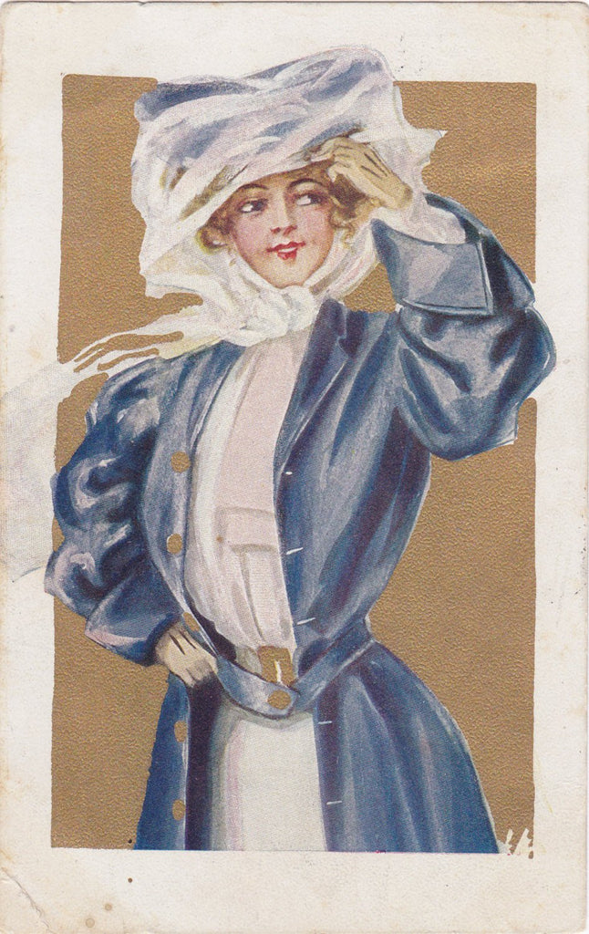 Edwardian Auto Beauty- 1900s Antique Postcard- Duster Coat- Driving Hat- Automobile Driver- Lady Motorist Art- Used
