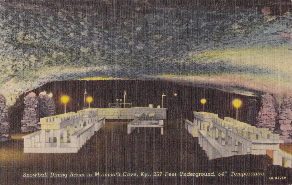 Snowball Dining Room- 1940s Vintage Postcard- Mammoth Cave, KY- Kentucky Landmark- Underground- National Park Souvenir