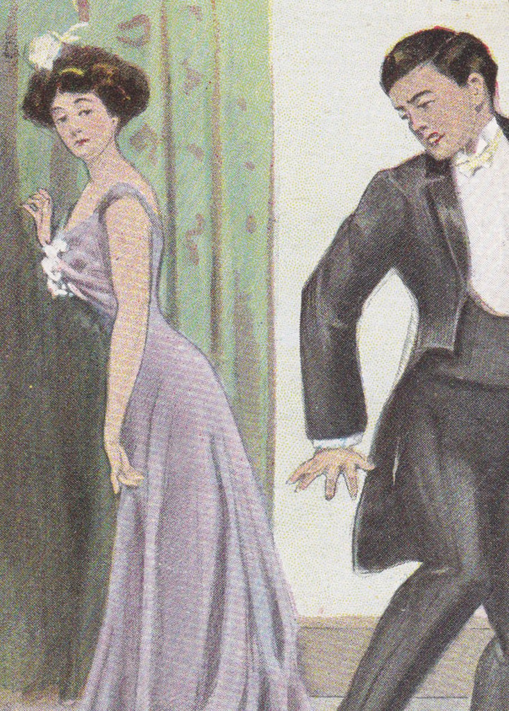 Just Missed The Train- 1900s Antique Postcard- Edwardian Romance- Dress Train Pun- Travel Humor- Gibson Girl- Art Comic- Unused