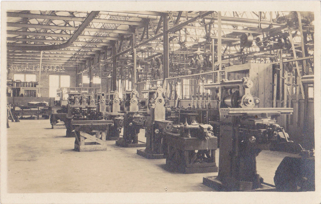 Factory Floor- 1900s Antique Photograph- Metal Working Machinery- Industrial Machine- Vernacular- Real Photo Postcard- Cyko RPPC