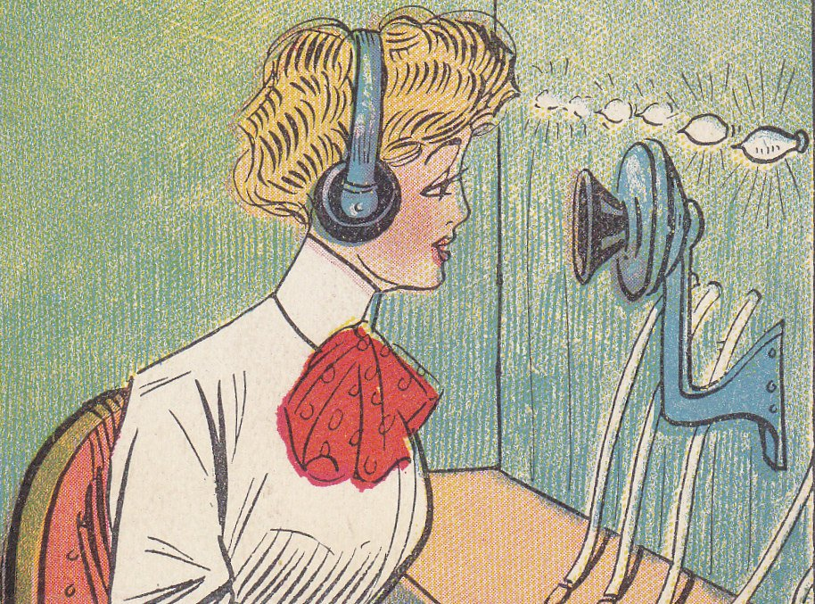 Telephone Girl- 1910s Antique Postcard- Switchboard Operator- Edwardian Woman- Occupational- Phone Art Comic- Used