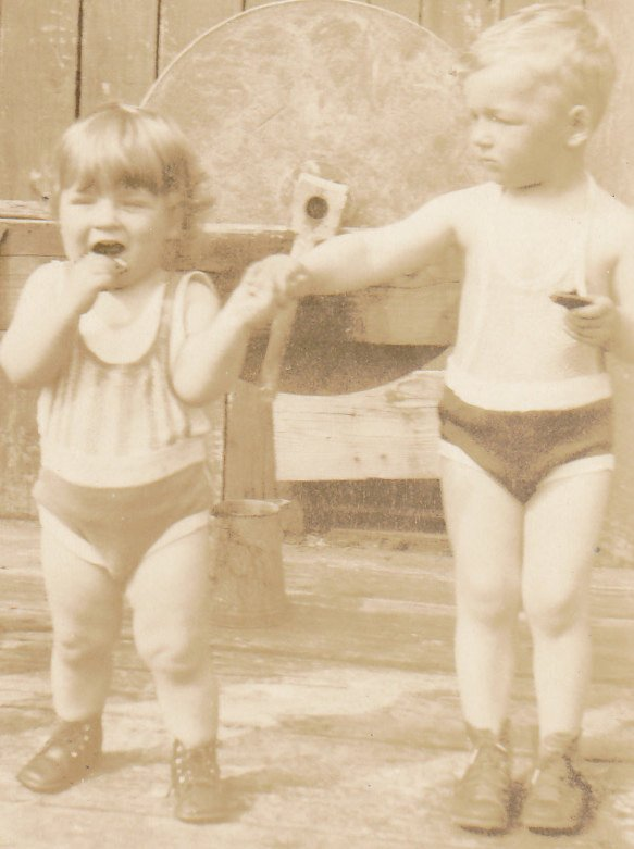 Papa Was An Axeman- 1920s Antique Photograph- Grindstone- Brothers in Swimsuits- Holding Hands- Sepia Snapshot- Found Photo