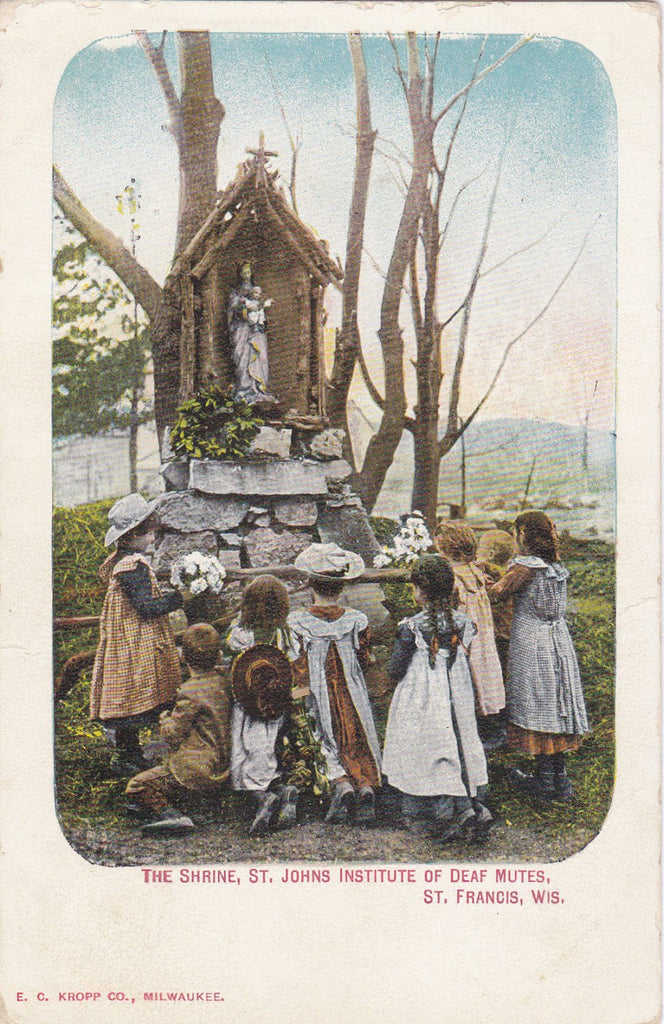 The Shrine- 1900s Antique Postcard- St. Johns Institutue of Deaf Mutes- St. Francis, Wisconsin- Fire Disaster Memorial- E C Kropp