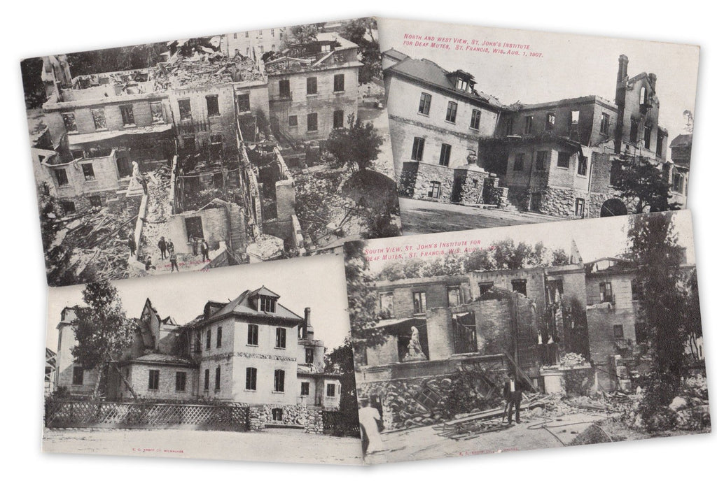 Fire Devastation- 1900s Antique Postcards- SET of 4- St. Johns Institute for Deaf Mutes- St Francis, Wisconsin- Disaster- E C Kropp