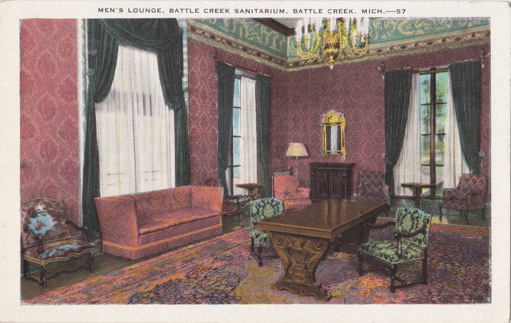 Men's Lounge- 1920s Antique Postcard- Battle Creek Sanitarium, Michigan- Hospital Interior View- E C Kropp- Unused