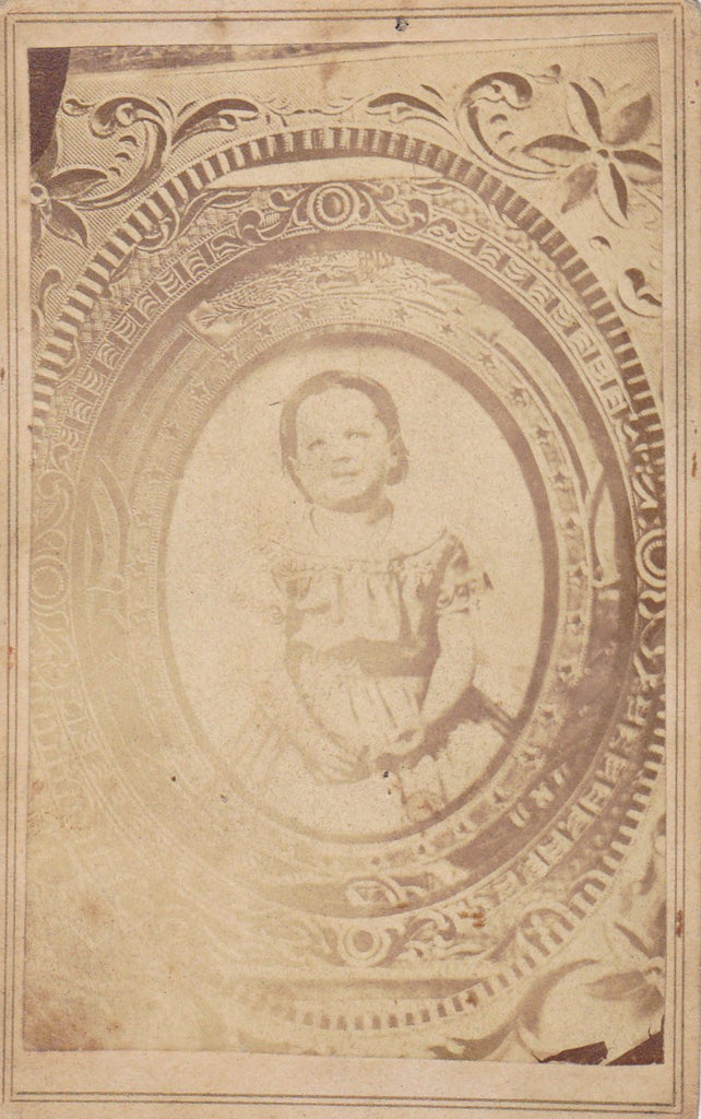Picture Portrait- 1800s Antique Photograph- Victorian Child- Creepy Little Girl- Haunting Memorial- Found Photo- CDV