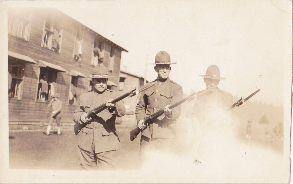 Fog of War- 1900s Antique Photograph- WWI Soldiers- Rifle Bayonets- Military Base- First World War- Real Photo Postcard- AZO RPPC