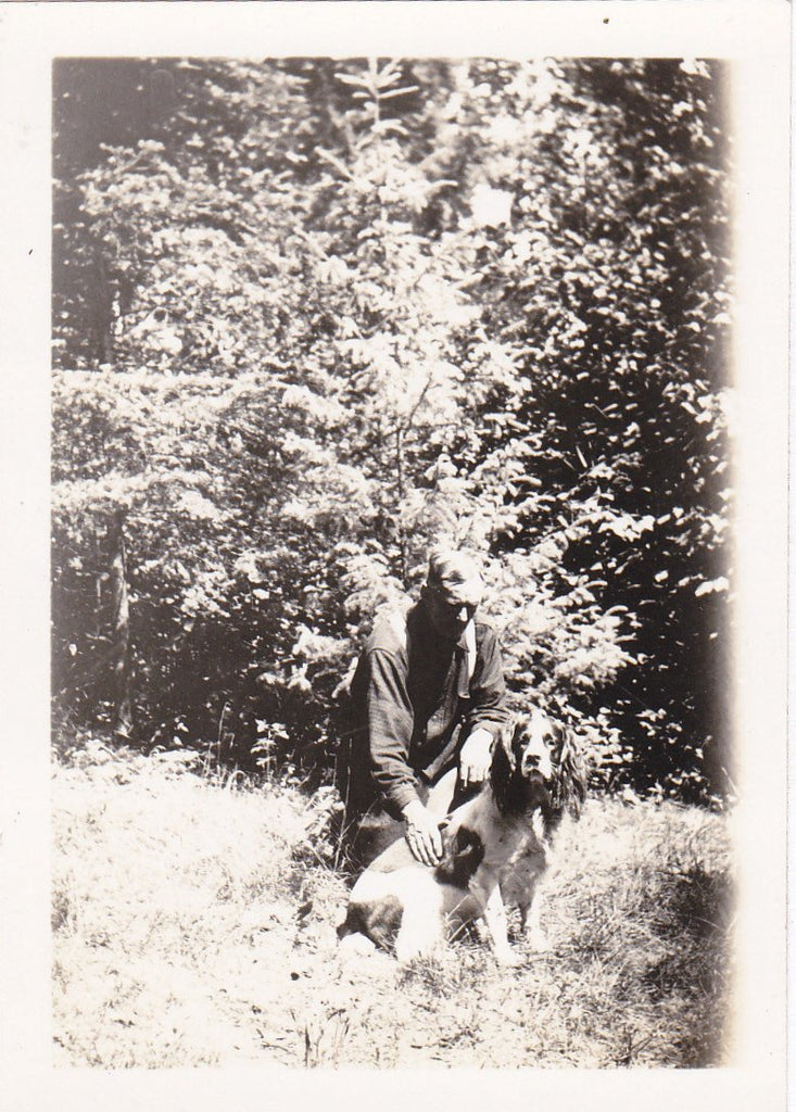 Springer Spaniel- 1920s Antique Photograph- Man's Best Friend- Hunting Dog- Found Photo- Snapshot- Vernacular