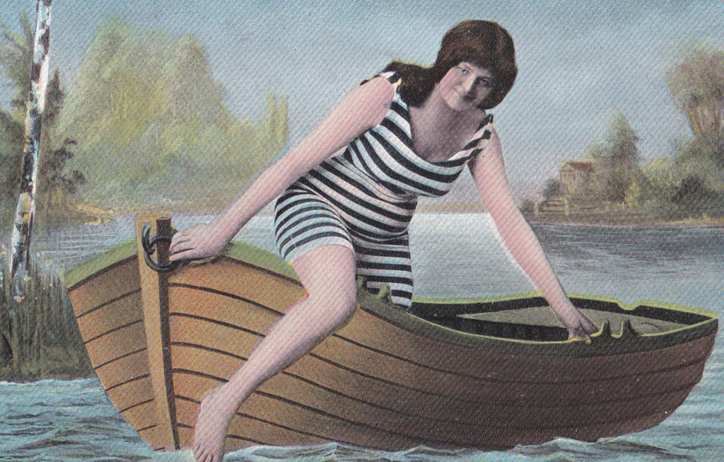 Whatever Floats Your Boat- 1900s Antique Postcard- Edwardian Bathing Beauty- Striped Swimsuit- Rowboat- Glamour Girl- T.E.L.