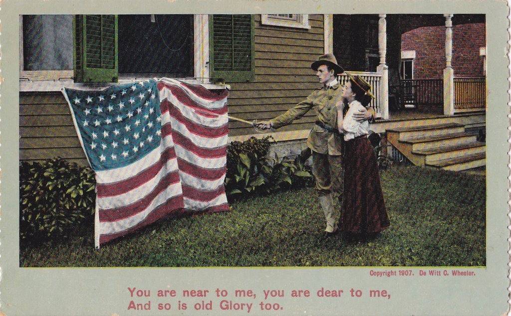 Old Glory- 1900s Antique Postcard- American Flag- Stars and Stripes- Edwardian Patriotic- Military Romance- Theochrom- Used