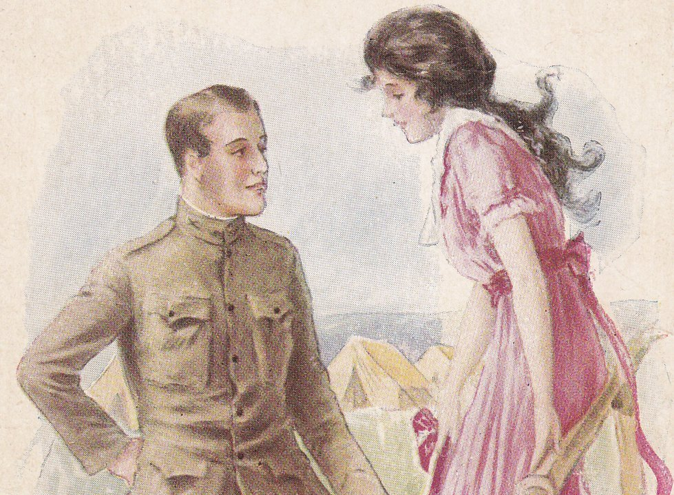 Lest You Forget- 1910s Antique Postcard- Edwardian Romance- WWI Soldier- Artist Signed- Archie Gunn- Unused