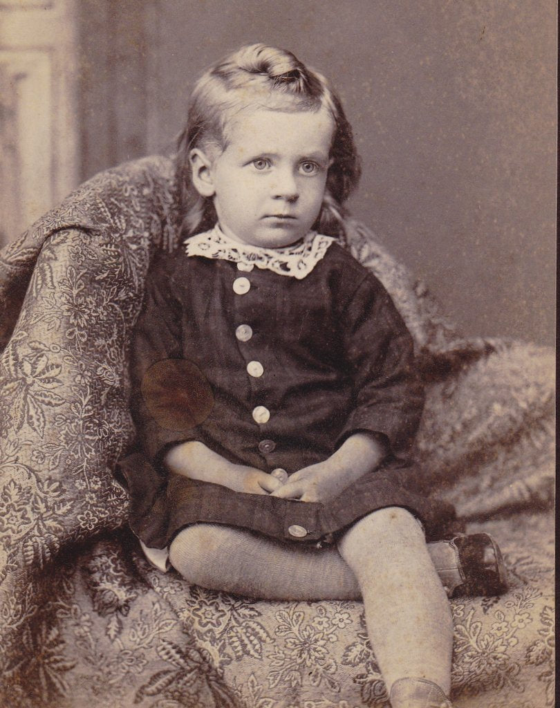 Long-Haired Laddie- 1800s Antique Photograph- Victorian Boy- Galva, Illinois- Child Portrait- Cabinet Photo- Pearl Buttons- Paper Ephemera