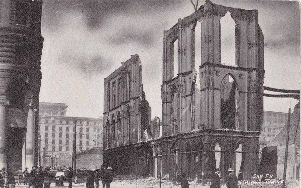 Masonic Temple Ruins- 1900s Antique Postcard- 1906 San Francisco Earthquake- Natural Disaster- California History- Undivided Back- Unused