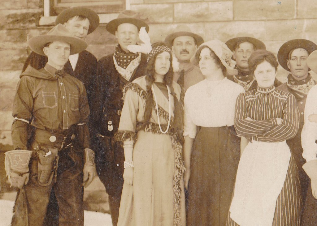 Wild West Show- 1900s Antique Photograph- Edwardian Frontiersmen- Cowboys and Indians- Halloween Costumes- Cabinet Photo- Paper Ephemera