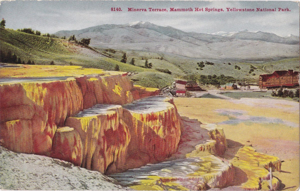 Minerva Terrace- 1910s Antique Postcard- Mammoth Hot Springs- Yellowstone, Wyoming- National Park- Landscape Painting- Unused