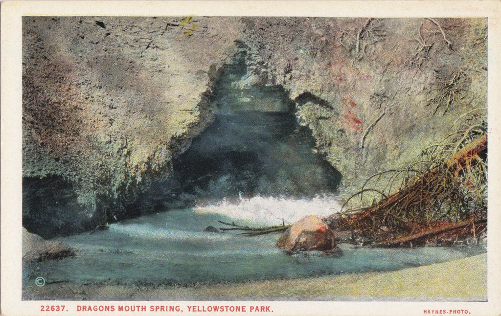 Dragon's Mouth Spring- 1920s Antique Postcard- Yellowstone, Wyoming- National Park- J E Haynes- Souvenir View- Unused