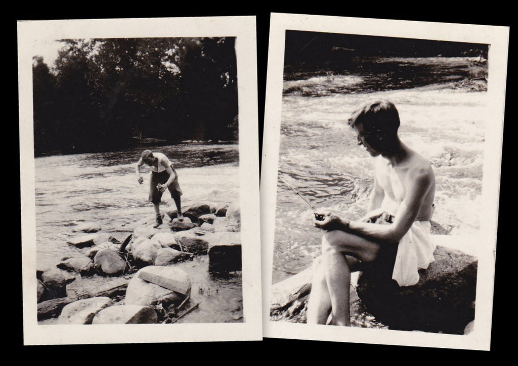 Waiting For the Fish to Bite- 1920s Antique Photographs- SET of 2- Shirtless Fisherman- Bamboo Fishing Pole- Found Photos