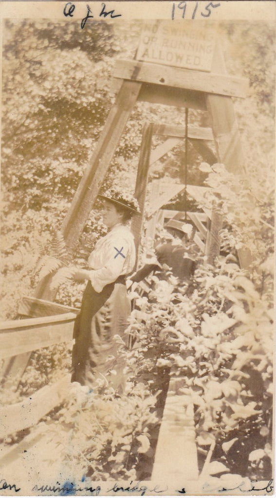 On Swimming Bridge- 1910s Antique Photograph- Nature Walk- Edwardian Couple- No Running Sign- Real Photo Postcard- AZO RPPC