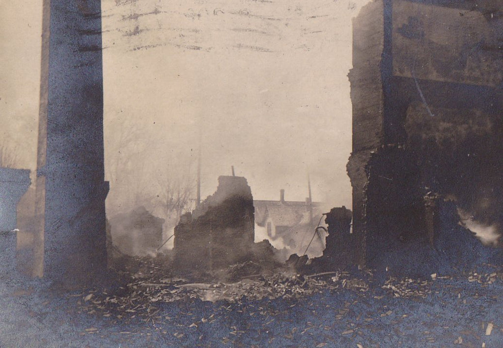 Ruins Burning Yet- 1900s Antique Photograph- Fire Aftermath- Fond Du Lac, WI- Disaster History- Real Photo Postcard- RPPC