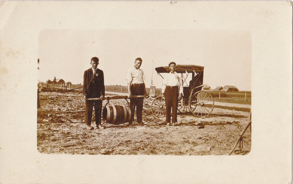 Wedding Spirits- 1900s Antique Photograph- Beer Barrel- Wagon Delivery- Edwardian Men- Real Photo Postcard- AZO RPPC