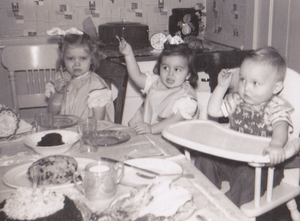 First Time Wishbone- 1950s Vintage Photograph- Thanksgiving Dinner- Kiddie Table- Turkey Wish Bone- 50s Kitchen- Found Photo- Paper Ephemera
