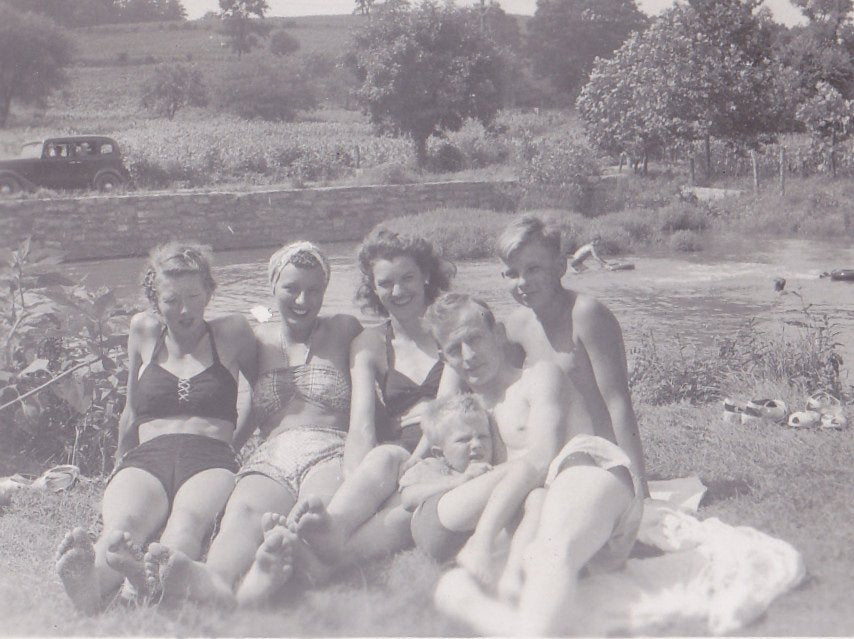 Roadside Swimmin' Hole- 1950s Vintage Photograph- Women in Bikinis- Swimsuits- Bathing Suits- Bare Feet- Found Photo