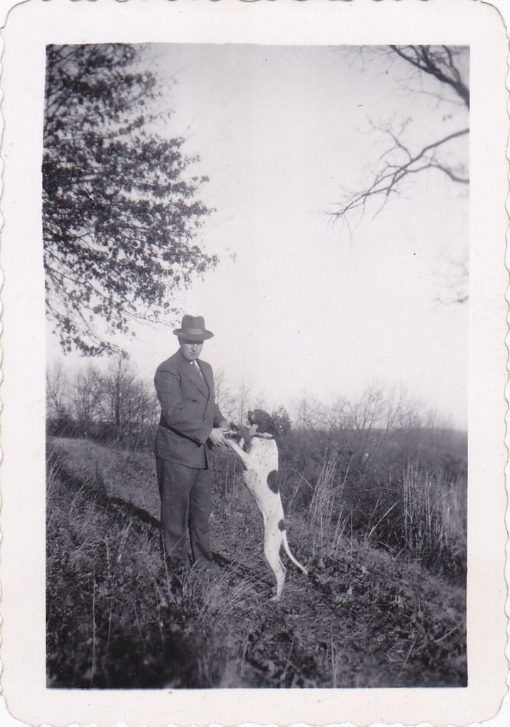 The Thing He Loves Most- 1940s Vintage Photograph- Man's Best Friend- Dog with Tongue Out- Found Photo- Identified Snapshot