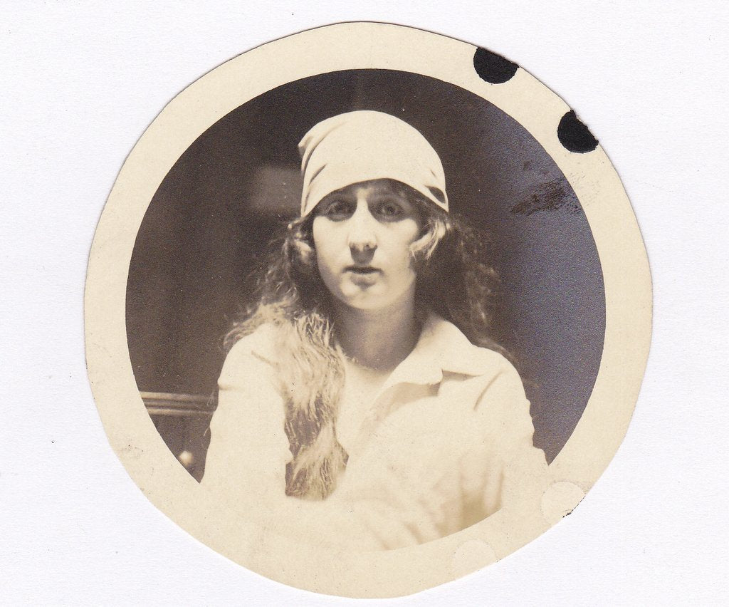Gypsy Beauty- 1910s Antique Photograph- Edwardian Woman- Found Photo- Long Dark Hair- Real Photo Postcard- RPPC- Paper Ephemera