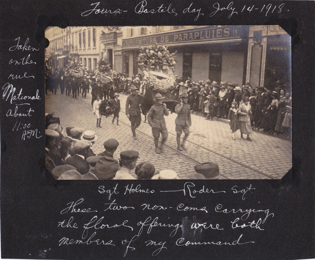 Bastille Day 1918- 1910s Antique Photograph- Rue Nationale- WWI Scrapbook- Tours France- Military Parade- Eyewitness History- Paper Ephemera