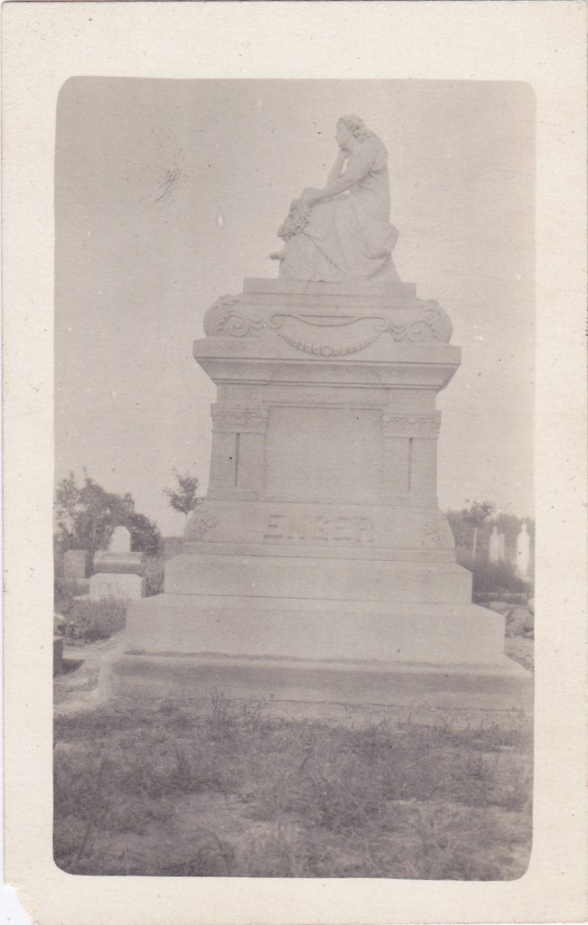 Enger Grave Monument- 1900s Antique Photograph- Cemetery Headstone- Edwardian Mourning- Graveyard- Real Photo Postcard- Cyko RPPC- Memorial Monument