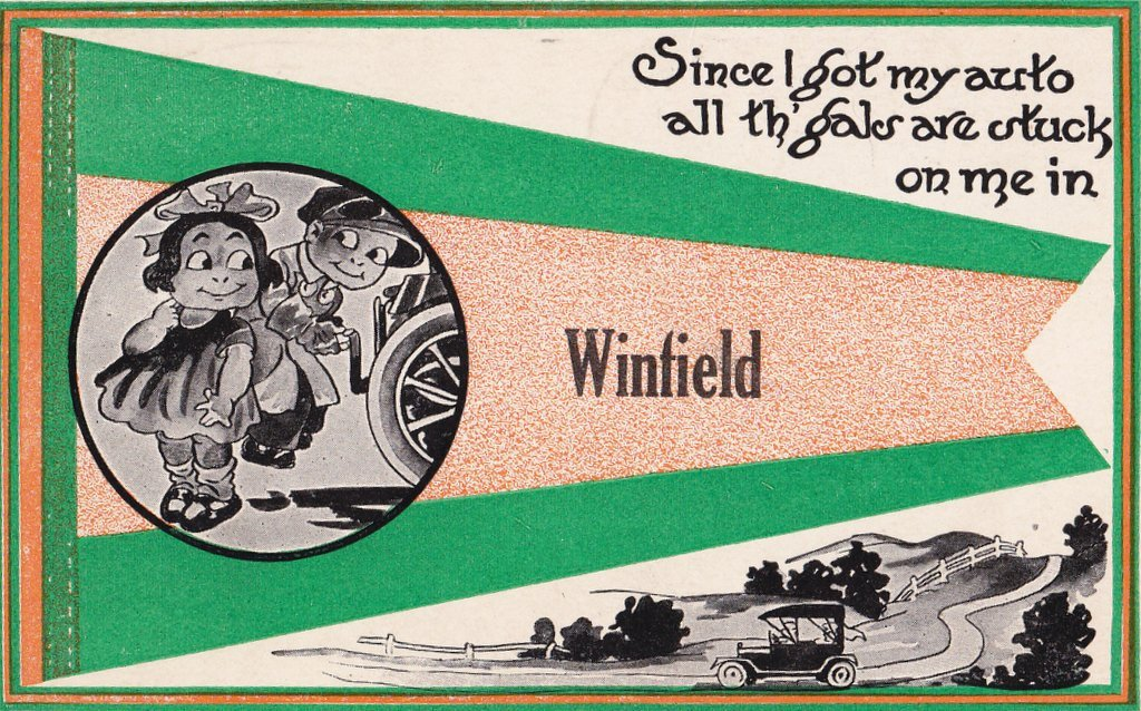 Since I Got My Auto- 1910s Antique Postcard- Winfield, Kansas- Pennant Flag- Edwardian Automobile- Art Comic- Used
