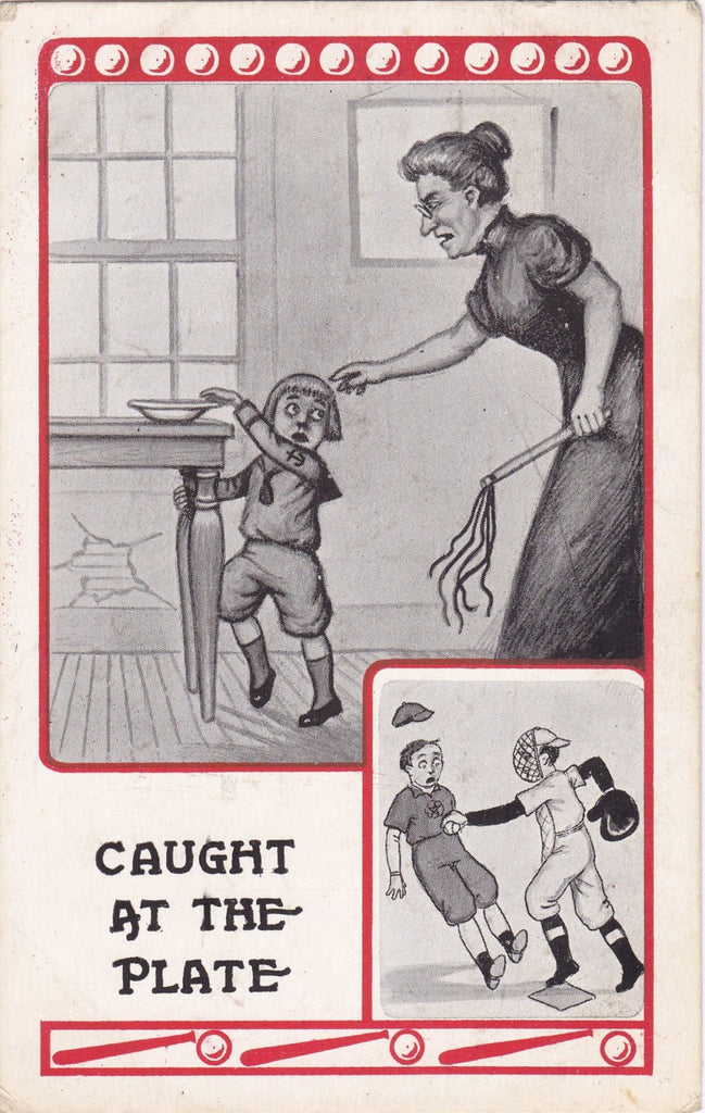 Caught At The Plate- 1910s Antique Postcard- Baseball Series Art Comic- Edwardian Humor- You're Out- Sports Memorabilia- Used